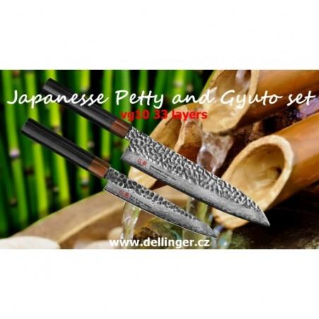 Utility 150+Gyuto 210-Suncraft Wood-Damascus-sada japonských nožů-Tsuchime- VG10–33 vrstev