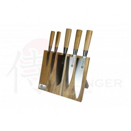 Suncraft Bamboo Profesionální 5-ti dílná sada kuchyňských a kuchařských nožů s magnetickým držákem