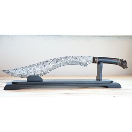 nůž KUKRI mačeta z nerezu - laserovaný vzor damaškové oceli