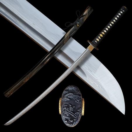katana TATSUTA z překládané oceli AISI 1045 s leštěnou imitací hamonu
