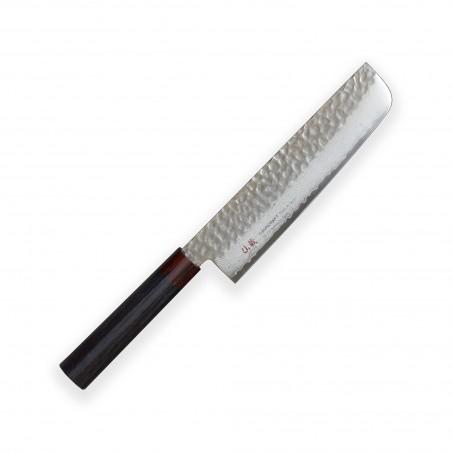 Nakiri 180mm-Suncraft Wood-Damascus-japonský kuchyňský nůž-Tsuchime- VG10–33 vrstev