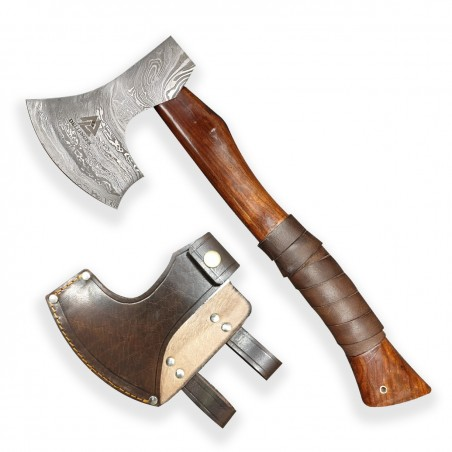"Axe ""Dellinger Valhalla Leather"" made of Damascus steel"