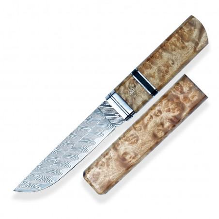 Japanese knife TANTO Dellinger NAMI, vg10 Damascus steel
