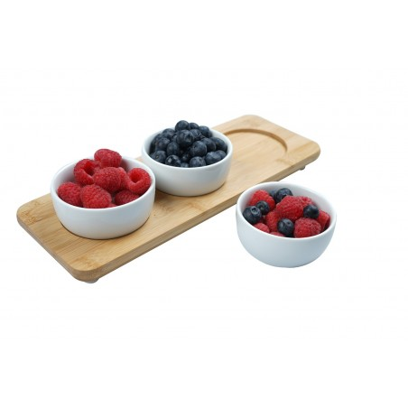 Bamboo service plate with 3 porcelain snack trays