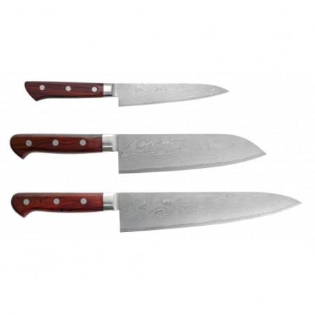 sada japonských damaškových nožů KIYA 49 layers