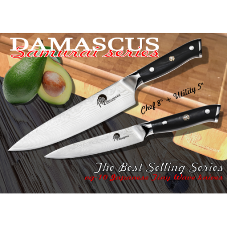 "nůž kuchařský Chef 8"" + nůž Utility 5"" SAMURAI DAMASCUS PROFI series"